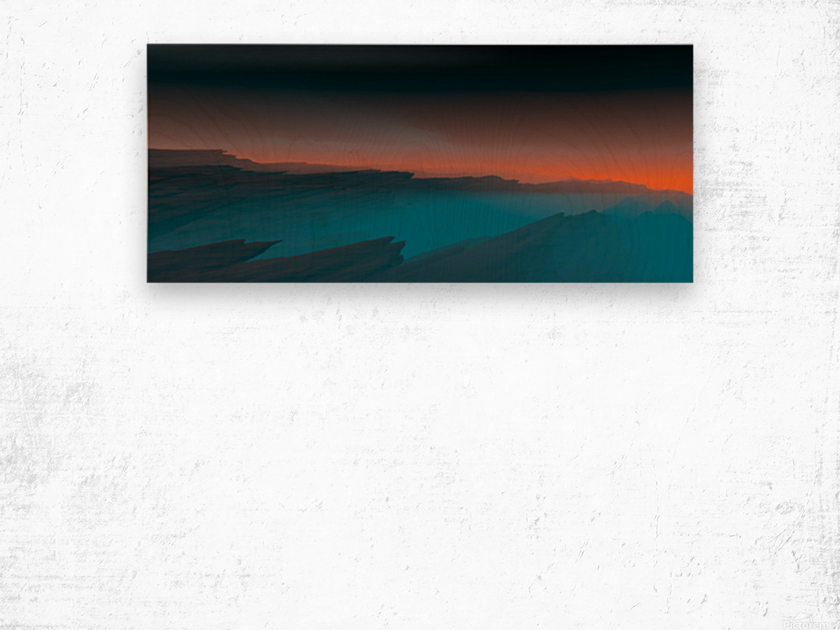 Sunset in the Mountains 3 Wood print