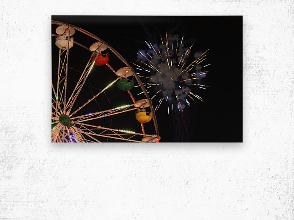 Ferris Wheel and Fireworks Wood print