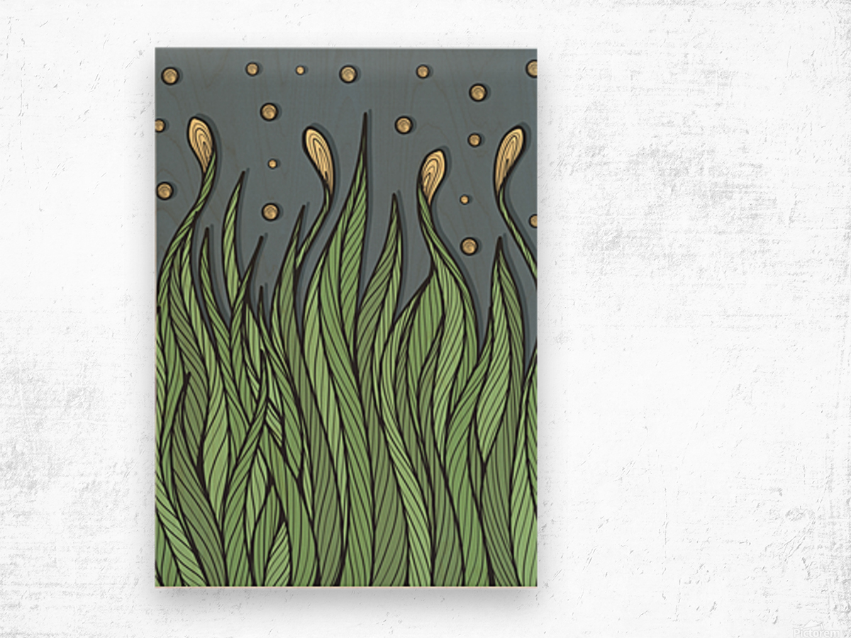 The Dancing Grass Wood print