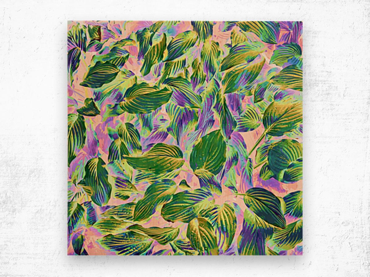 Happy Leaves Wood print
