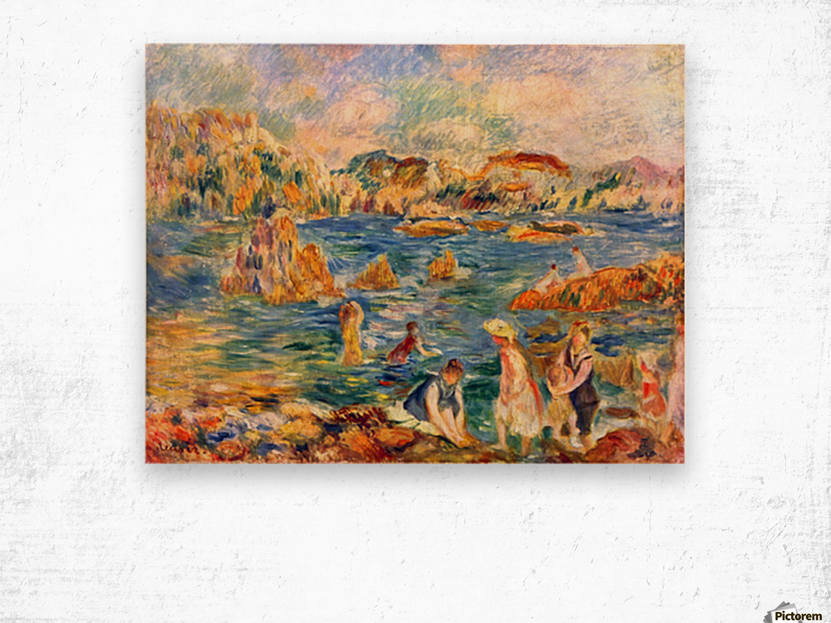 At the beach of Guernesey by Sisley Wood print