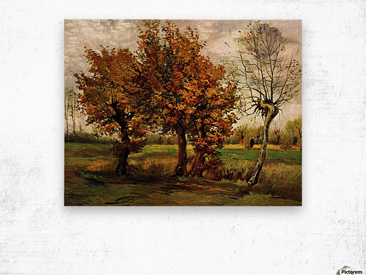 Autumn Landscape with Four Trees by Van Gogh Wood print