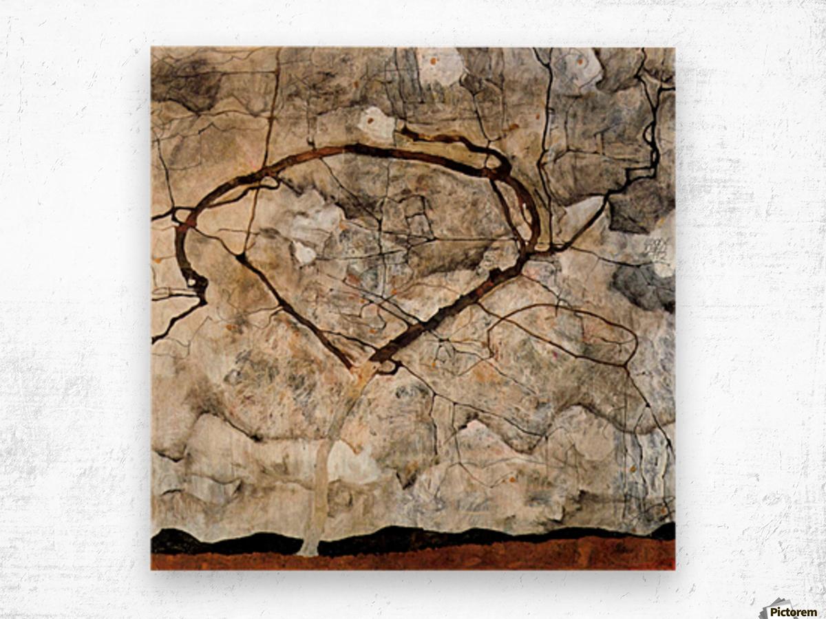 Autumn tree in the wind Schiele Wood print