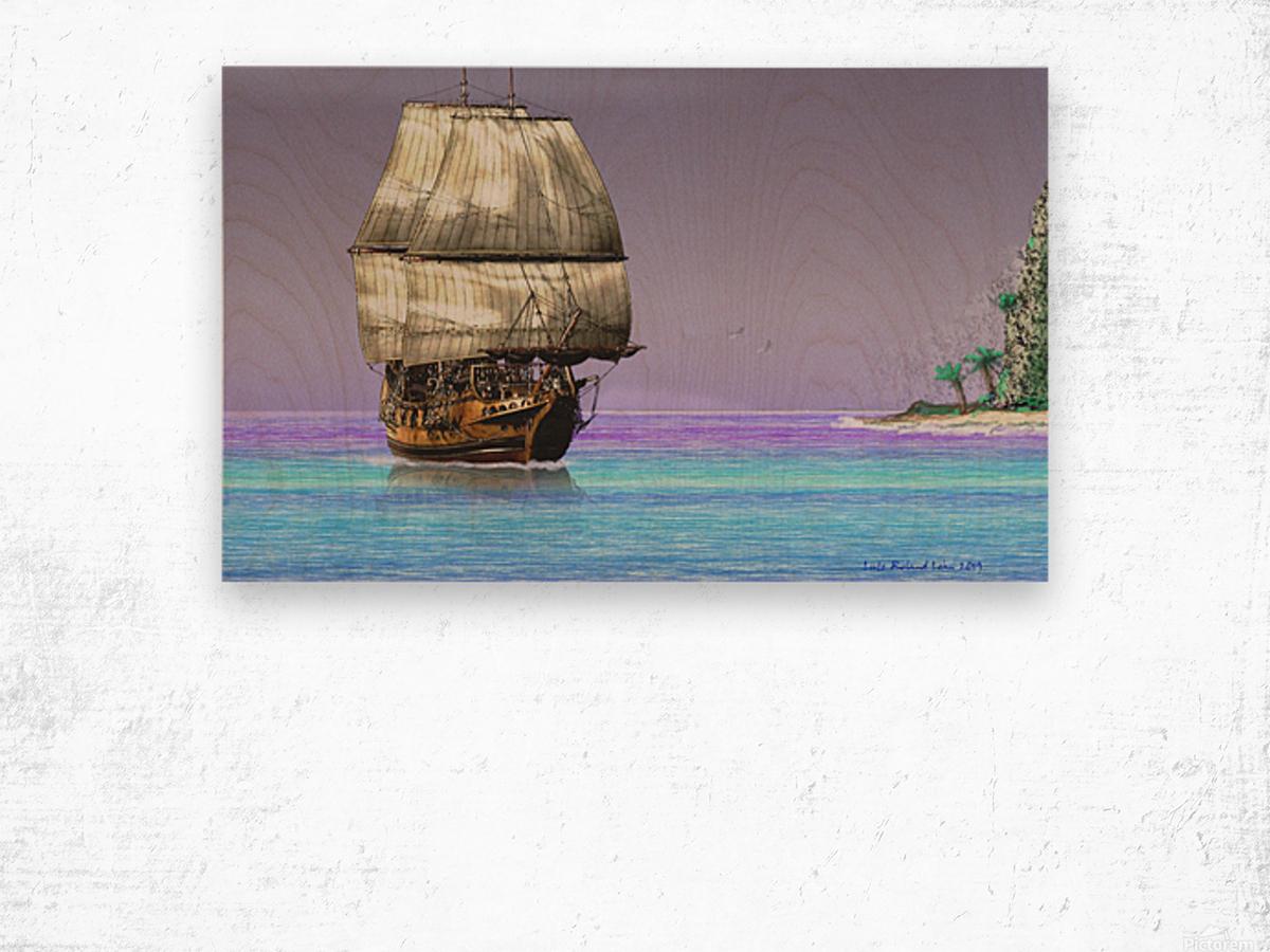 Sailship On A Tropical Island Wood print
