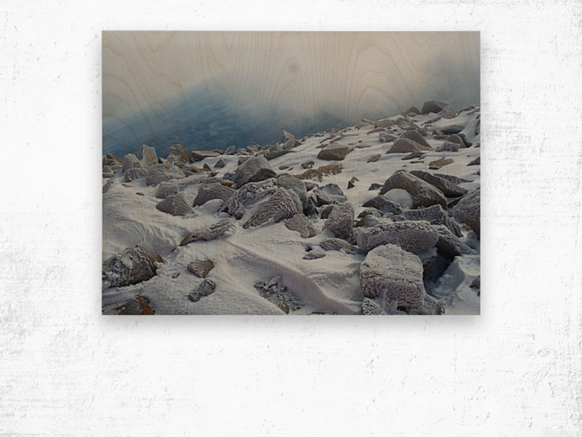 Mountainside with Snow-covered Rocks Wood print
