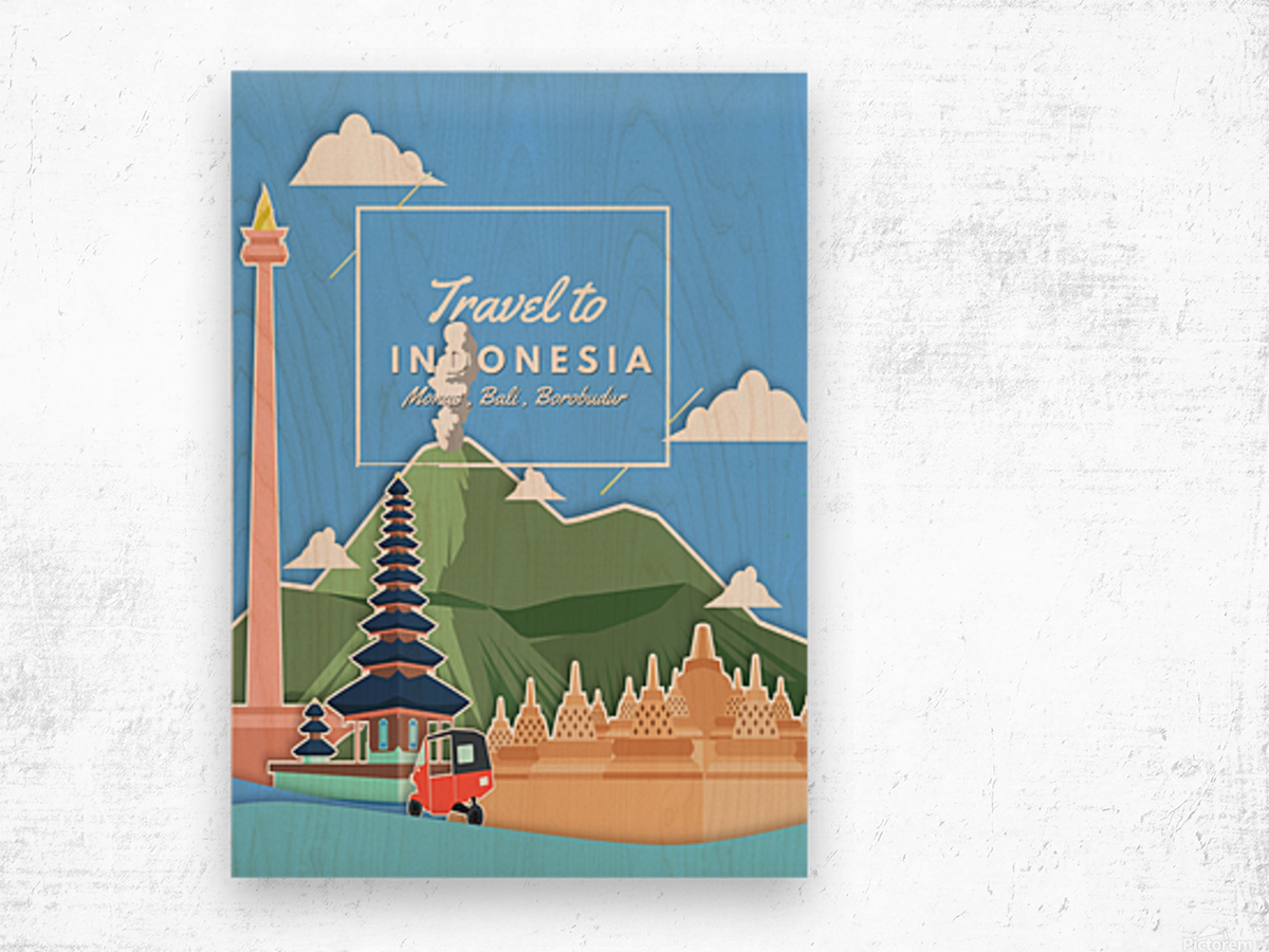 Travel To Indonesia Wood print