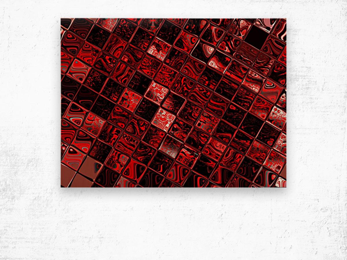 Red Glass Tiles 3 Wood print