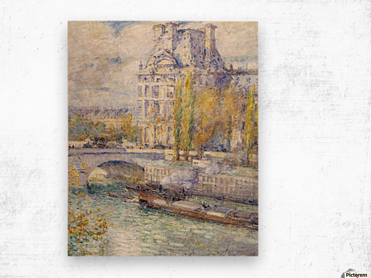 The Louvre on Pont Royal by Hassam Wood print