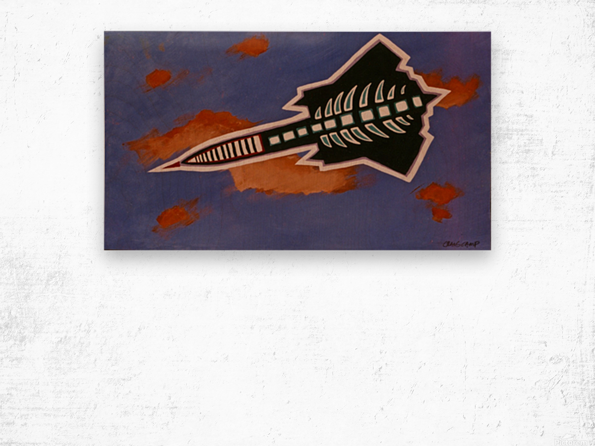 Rocket Ship Wood print