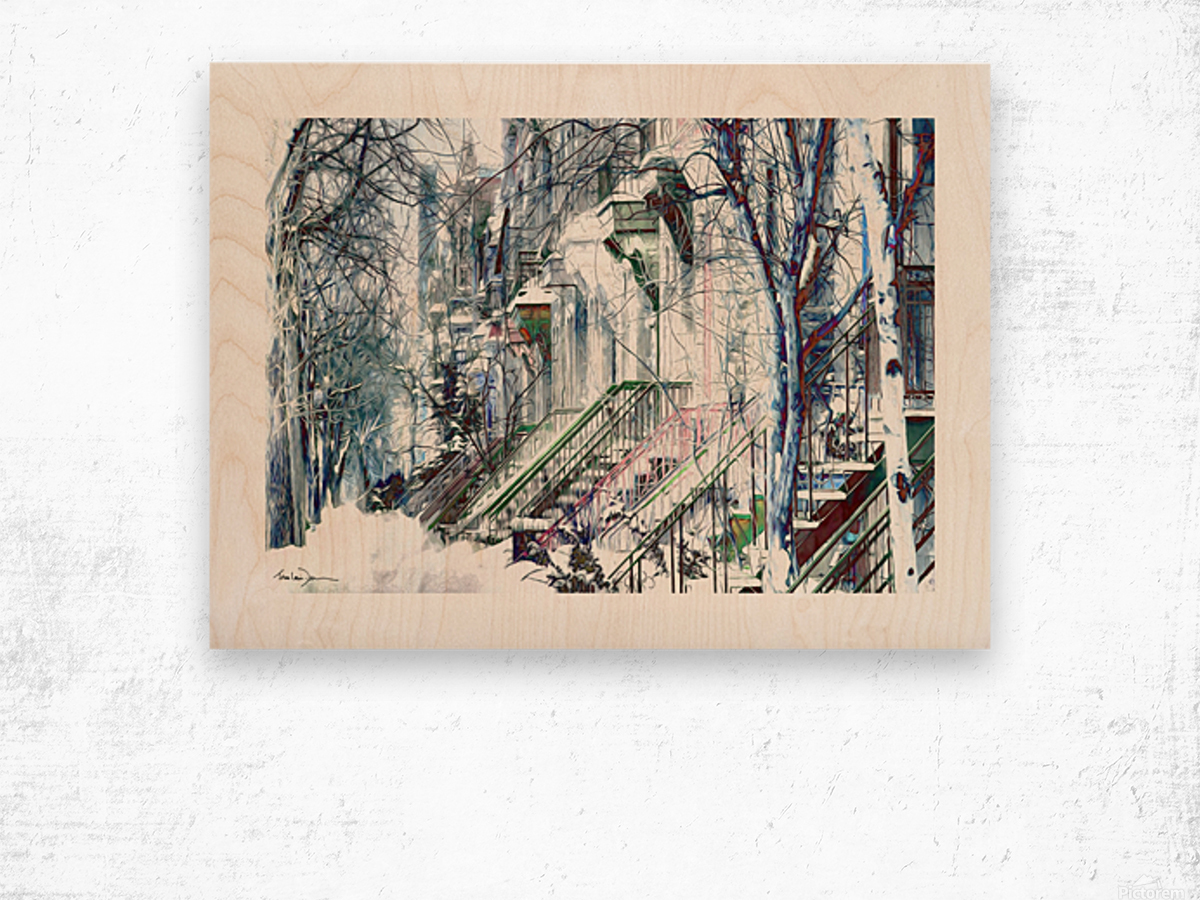 Rue Laval Montreal Wood print
