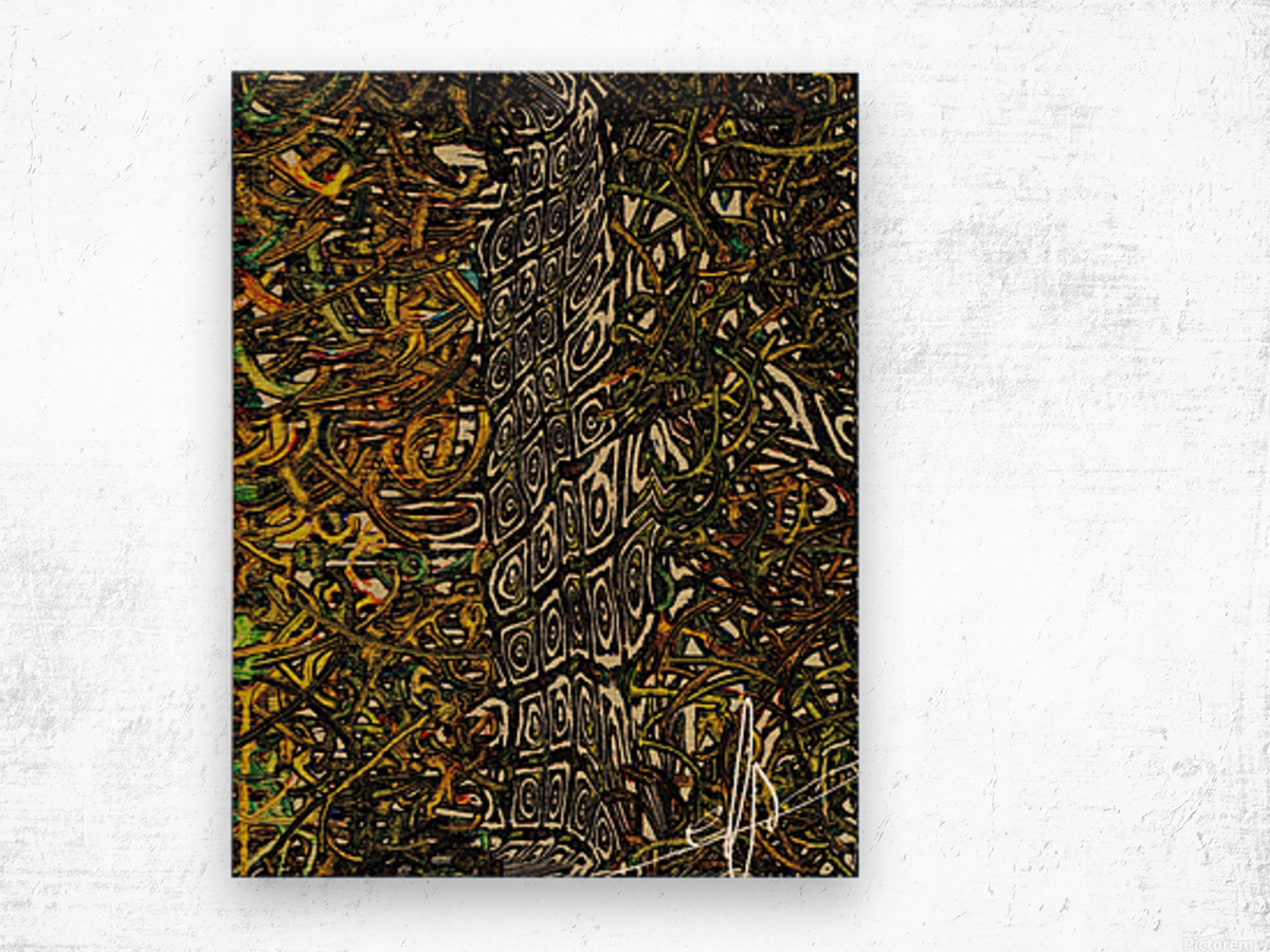 Curly Fries Gone Awry Wood print