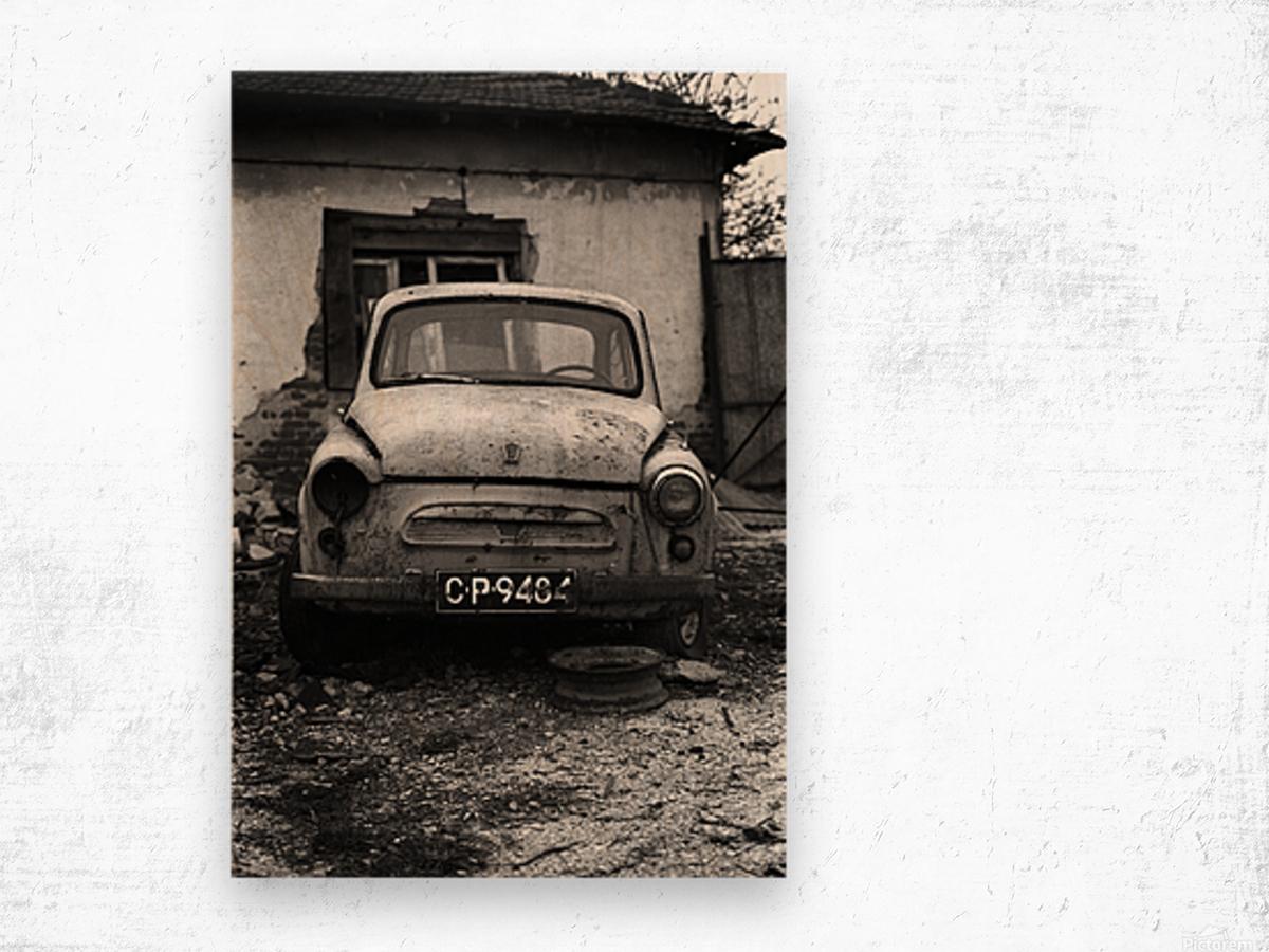 Abandoned ZAZ 965  USSRs replica of FIAT 600 Wood print