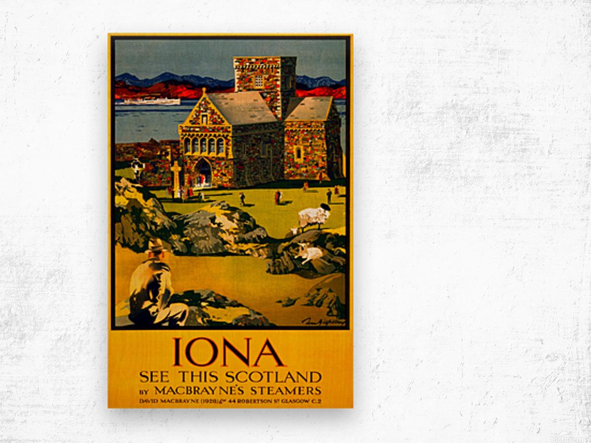Vintage Travel - Iona Scotland Wood print