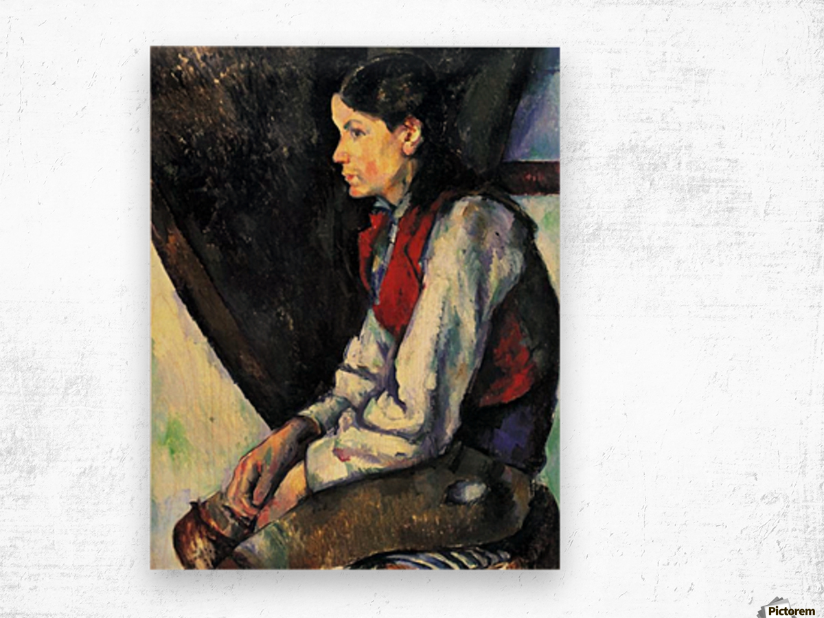 Boy with Red Vest by Cezanne Wood print