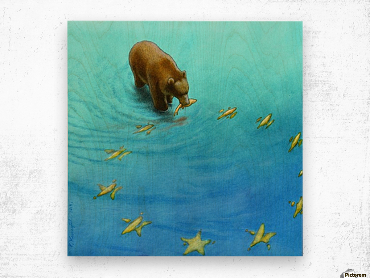 gold fishes Wood print
