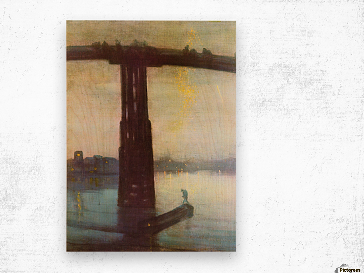 The old Battersea Bridge by James Abbot McNeill Whistler Wood print