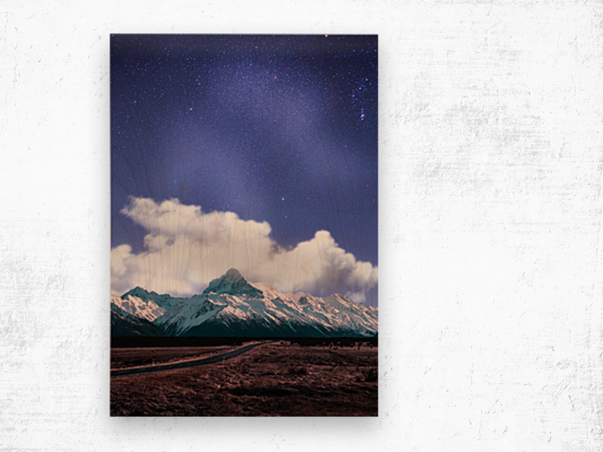 Blue Sky Over The Mountain Wood print