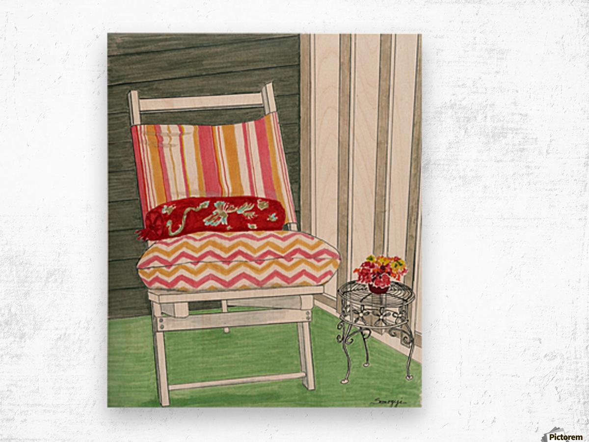 Beach Chair Sans Beach Wood print