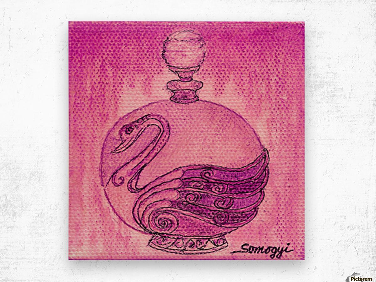 Bottled Fuchsia Swan Wood print