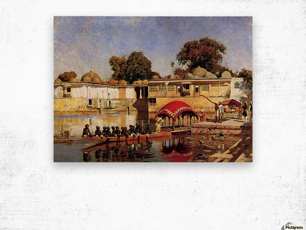 Palace and Lake at Sarket-Ahmedabad, India Wood print