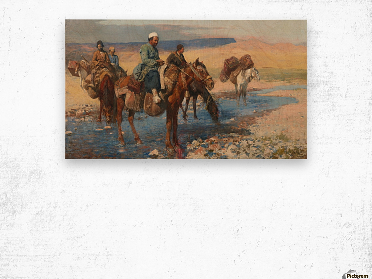 Horses at the Ford-Persia Wood print