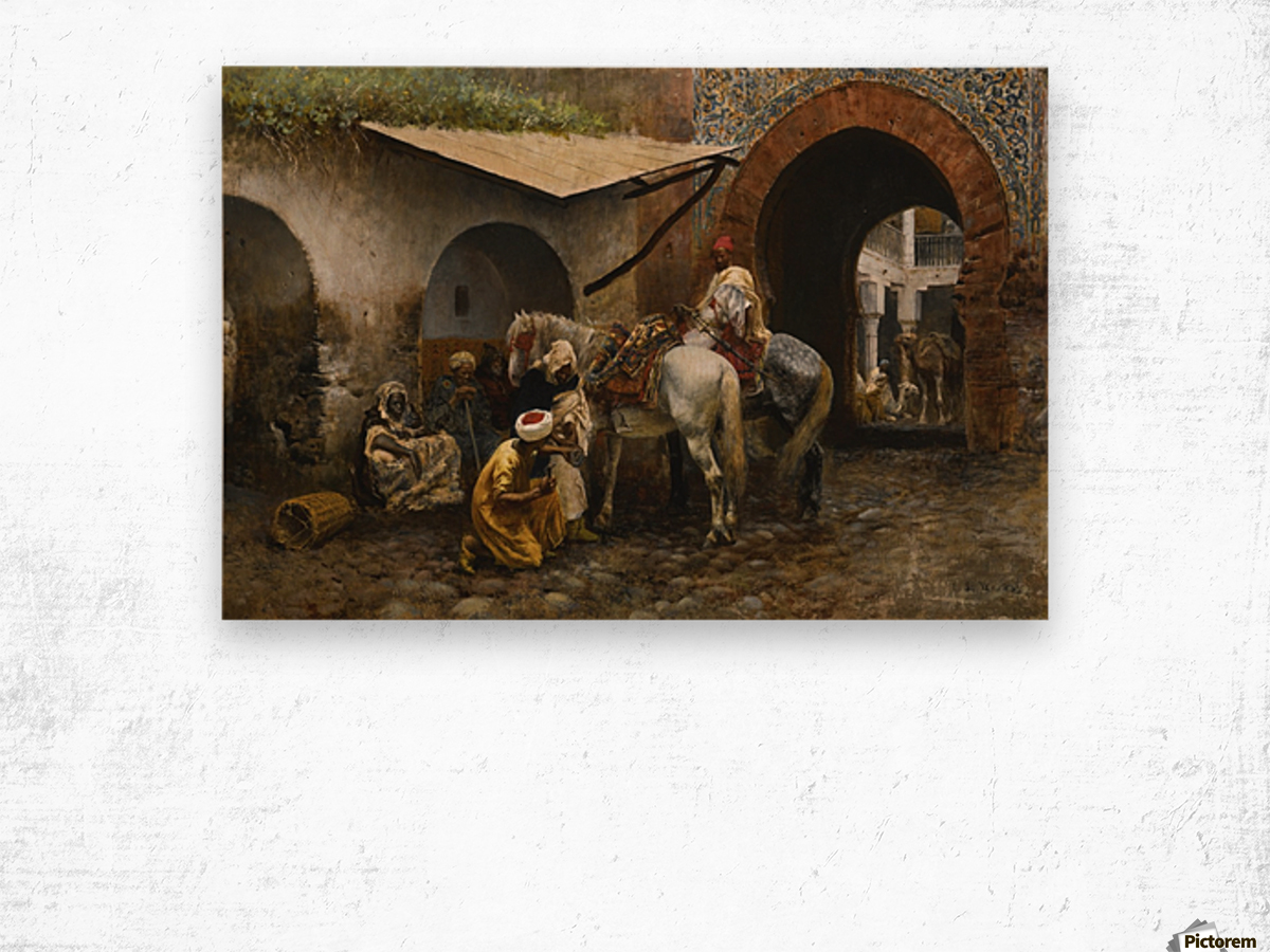 Horse care in oriental market Wood print