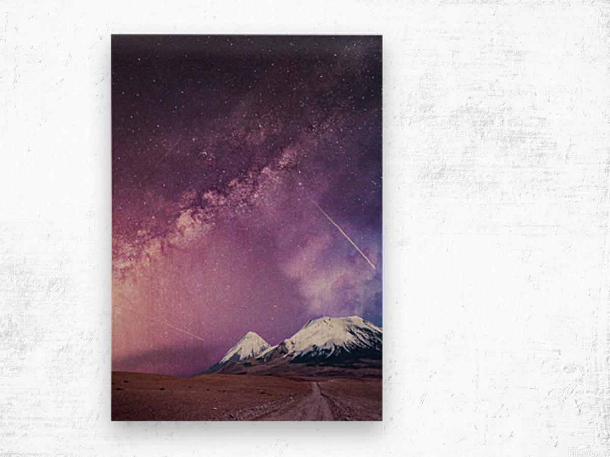 Milky Way Over The Volcano Wood print