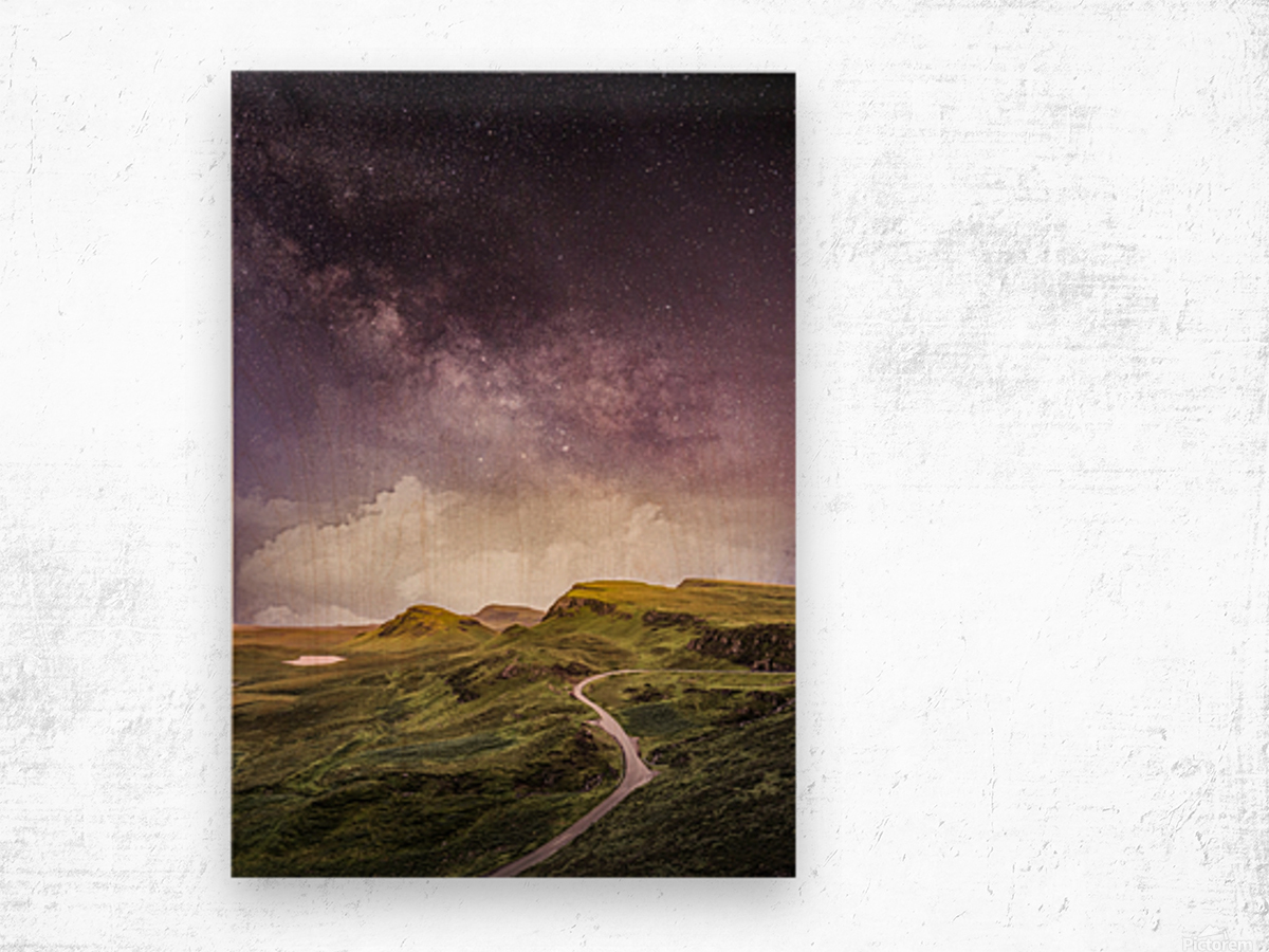 Purple Milky Way And The Sunshine Wood print