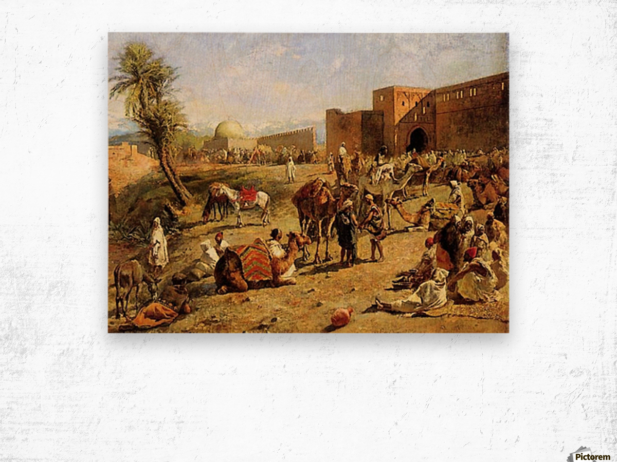 Arrival of a caravan outside the city of Morocco Wood print