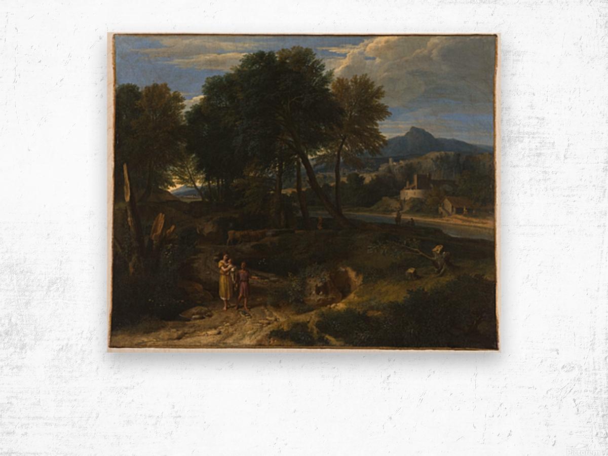 Pastorale avec un jeune patre et une femme avec un enfant dans les bras Wood print