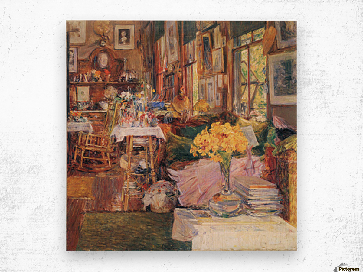 The room of flowers by Hassam Wood print