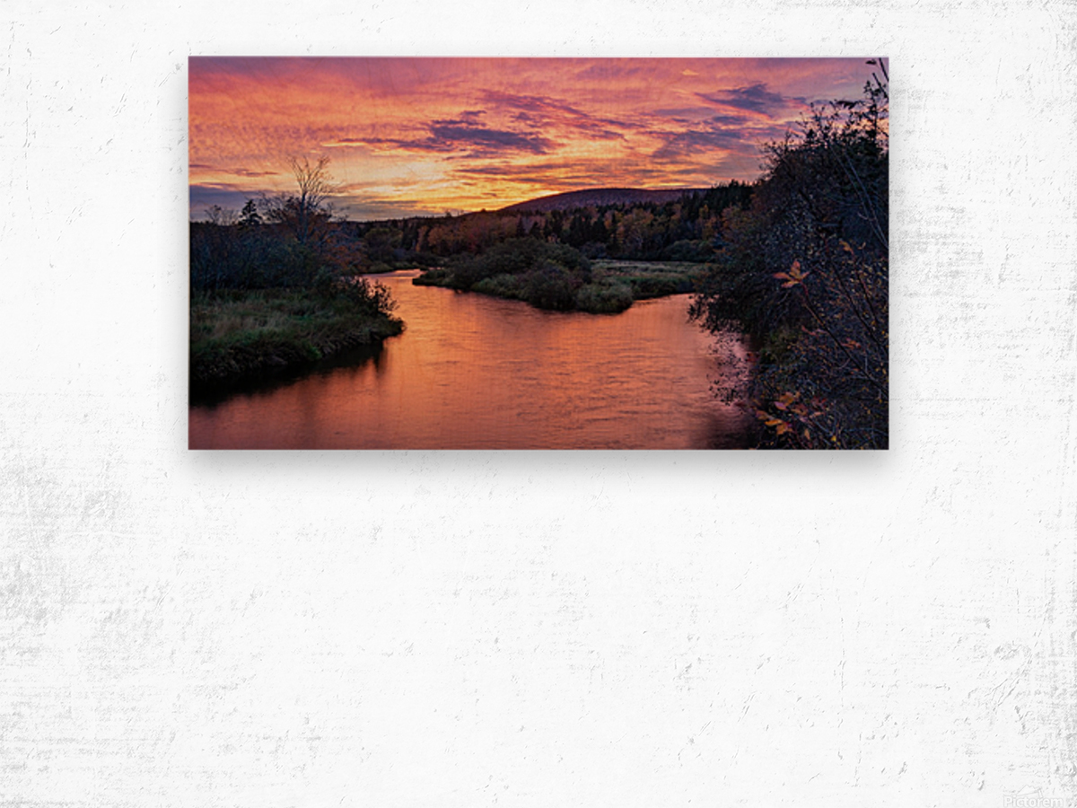 Early morning on the Margaree river  Wood print