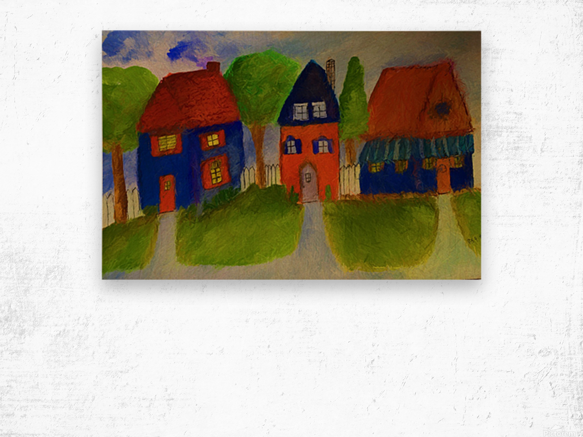 Whimsical Houses Wood print