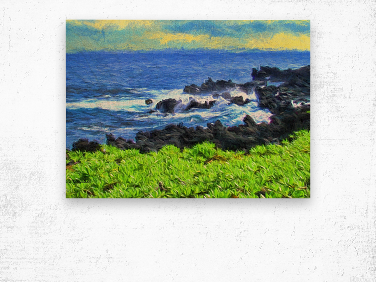 Hana Beach Hawaii Watercolor Wood print