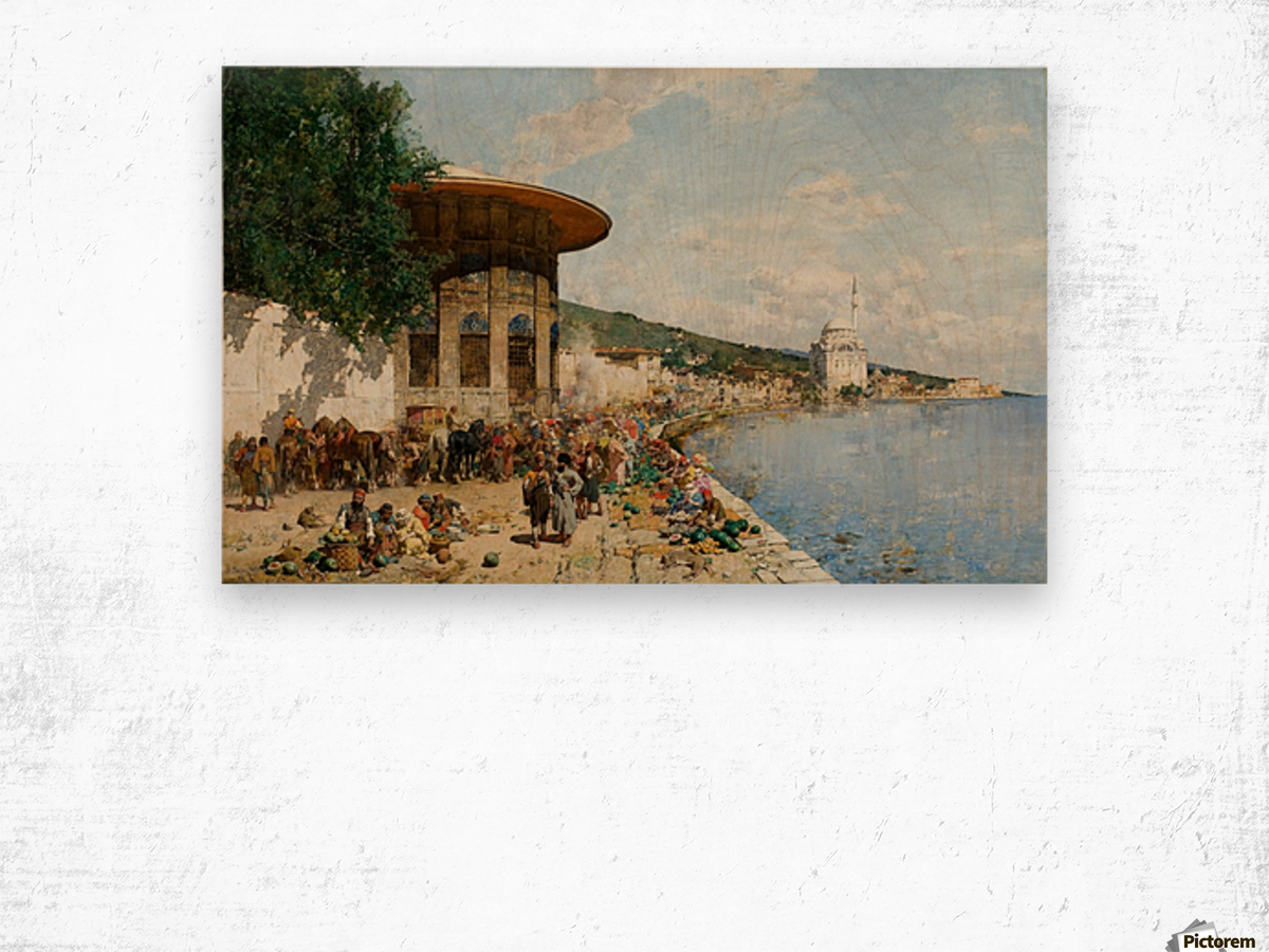Market Day in Constantinople Wood print