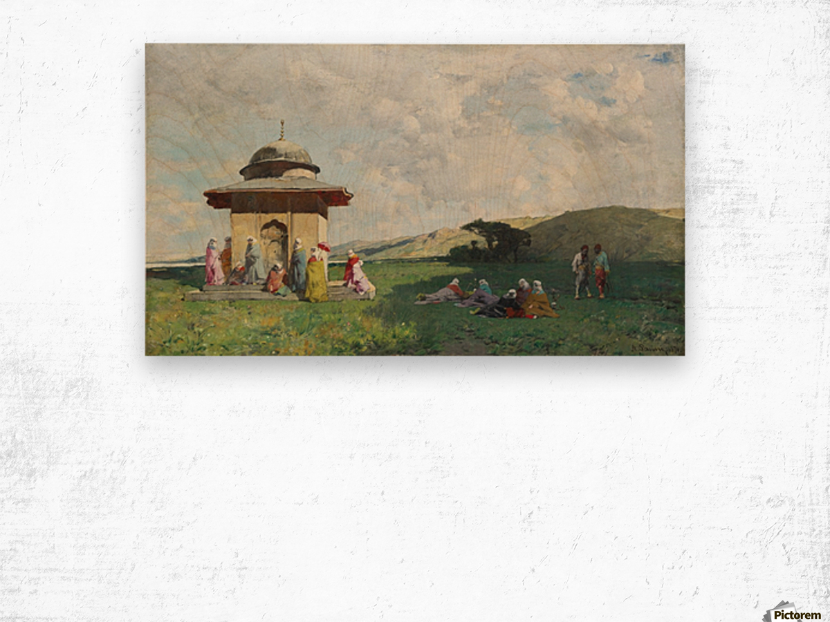 Landscape with people and small mosque Wood print