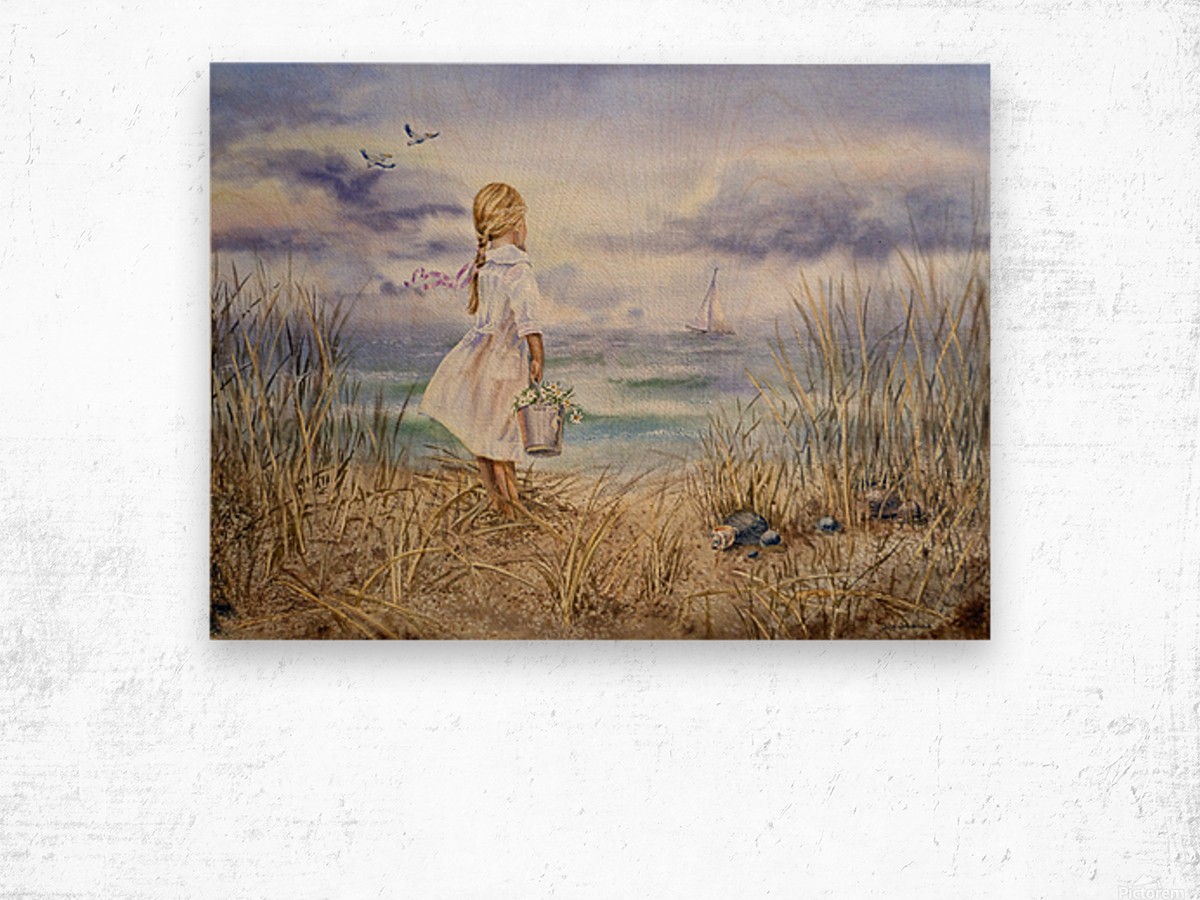 Girl Standing At The Ocean Watching Sailboat and Birds Wood print