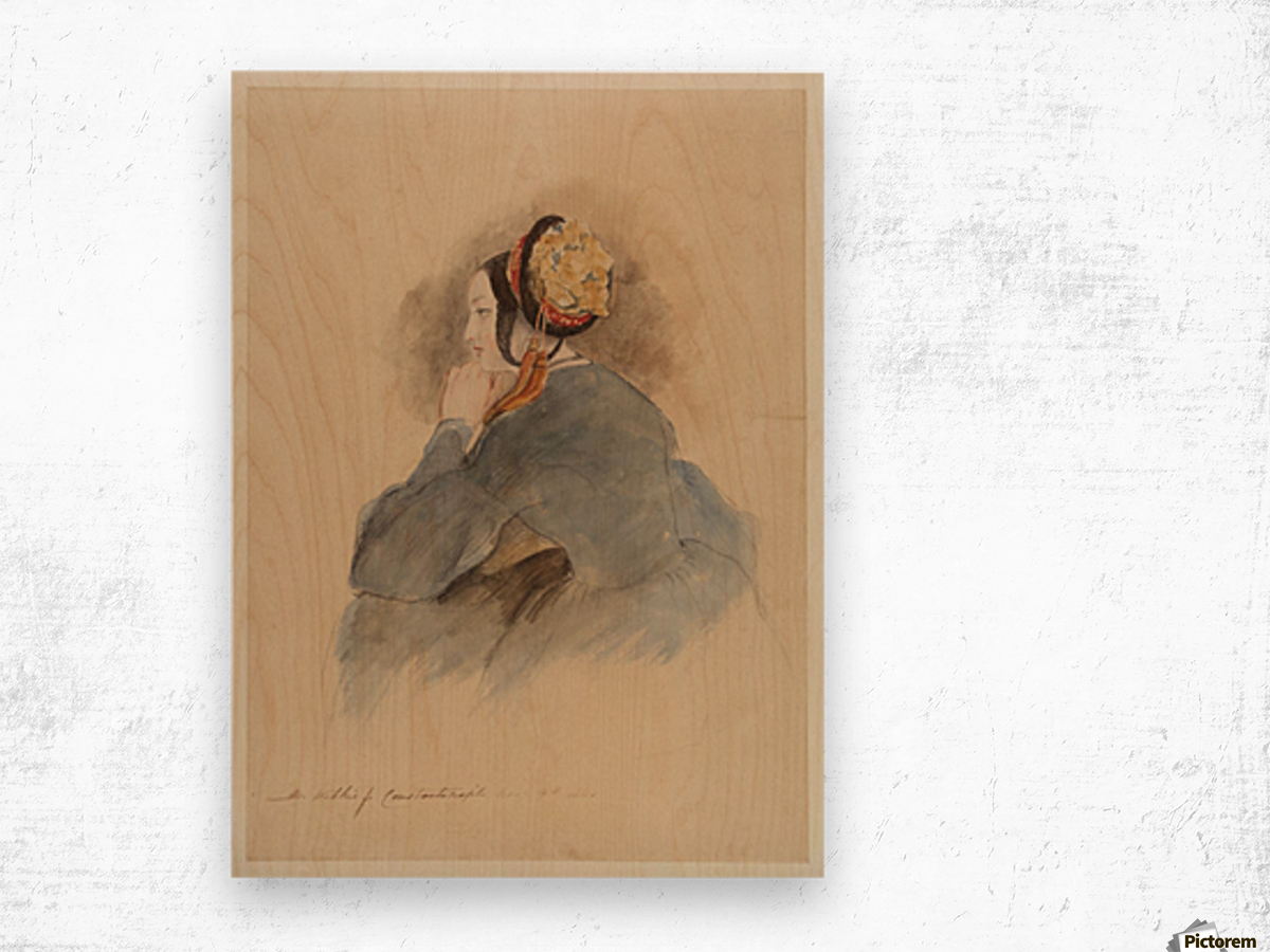 A Girl Seated, in Profile to Left Wood print