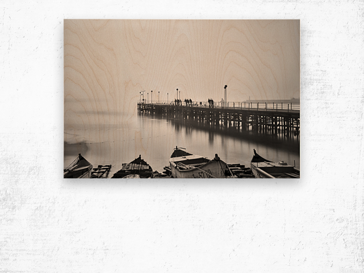 Foggy sea bridge Wood print