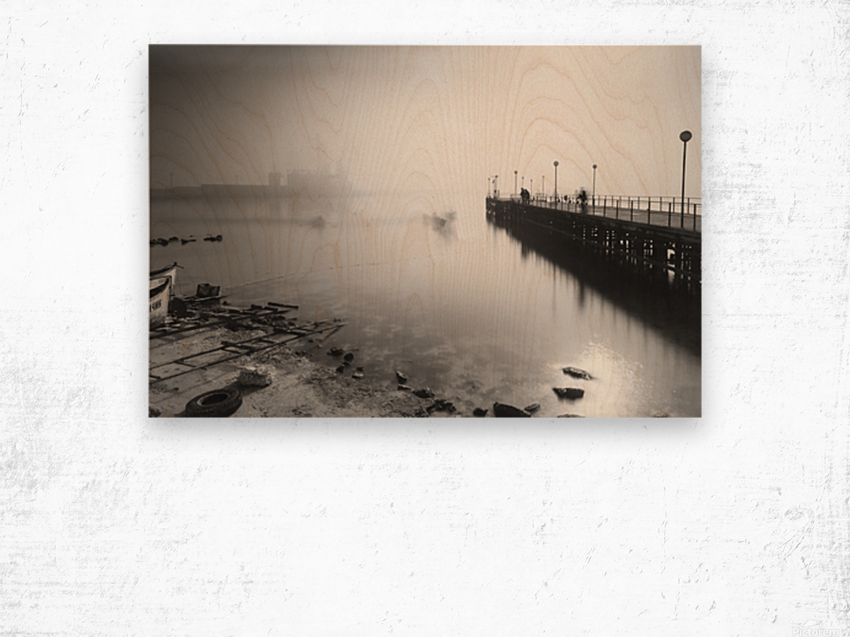 Foggy evening at the port of Balchik Wood print