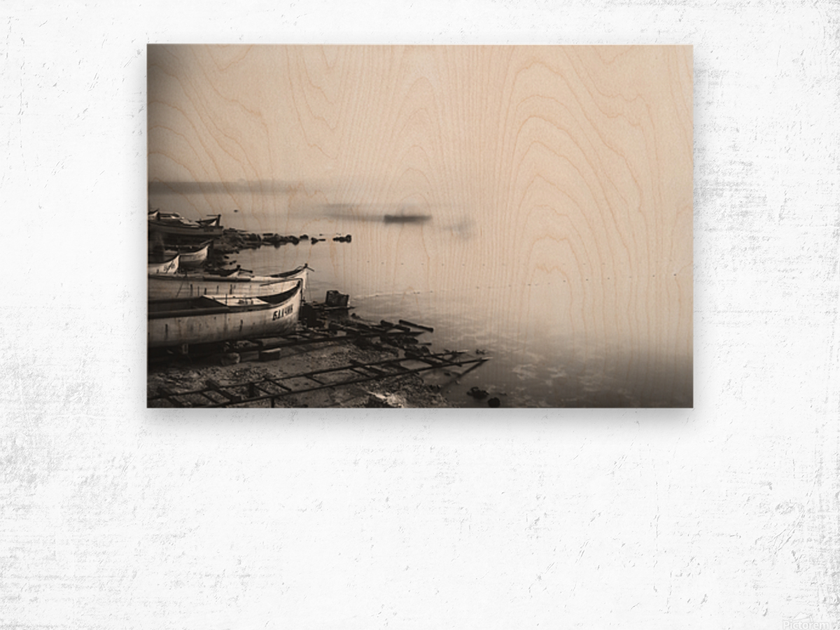 Foggy fishing port Wood print
