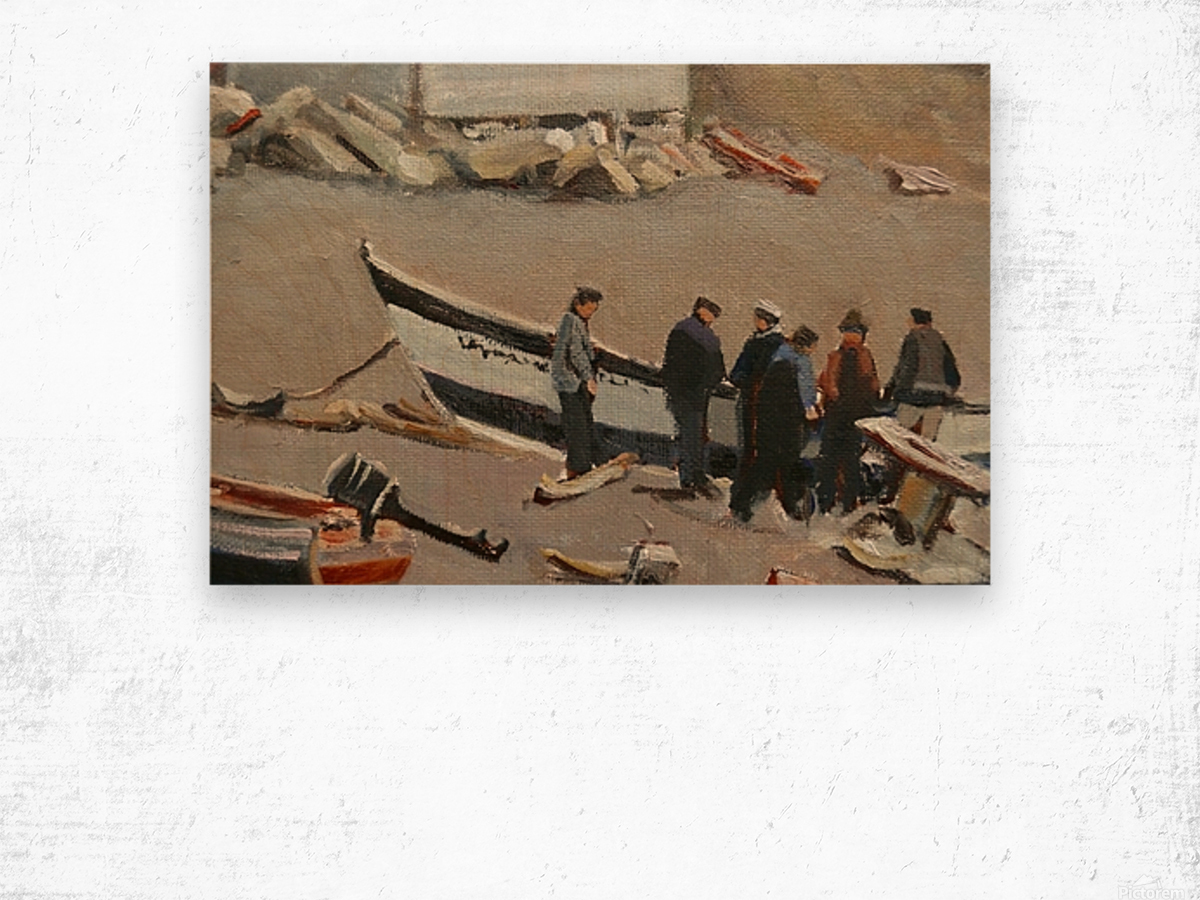 Fixing the Boat Gaspe Wood print