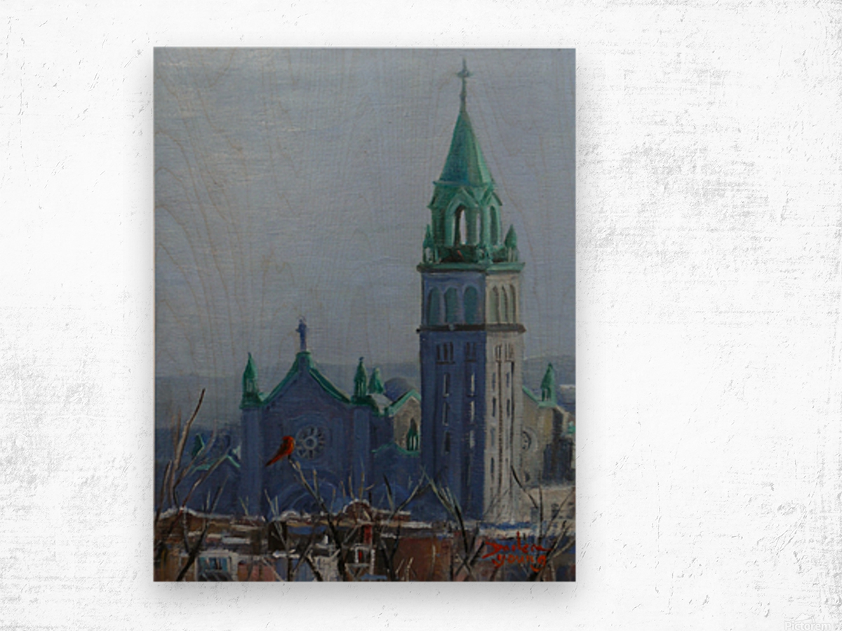 Cardinal and Cathedral Wood print