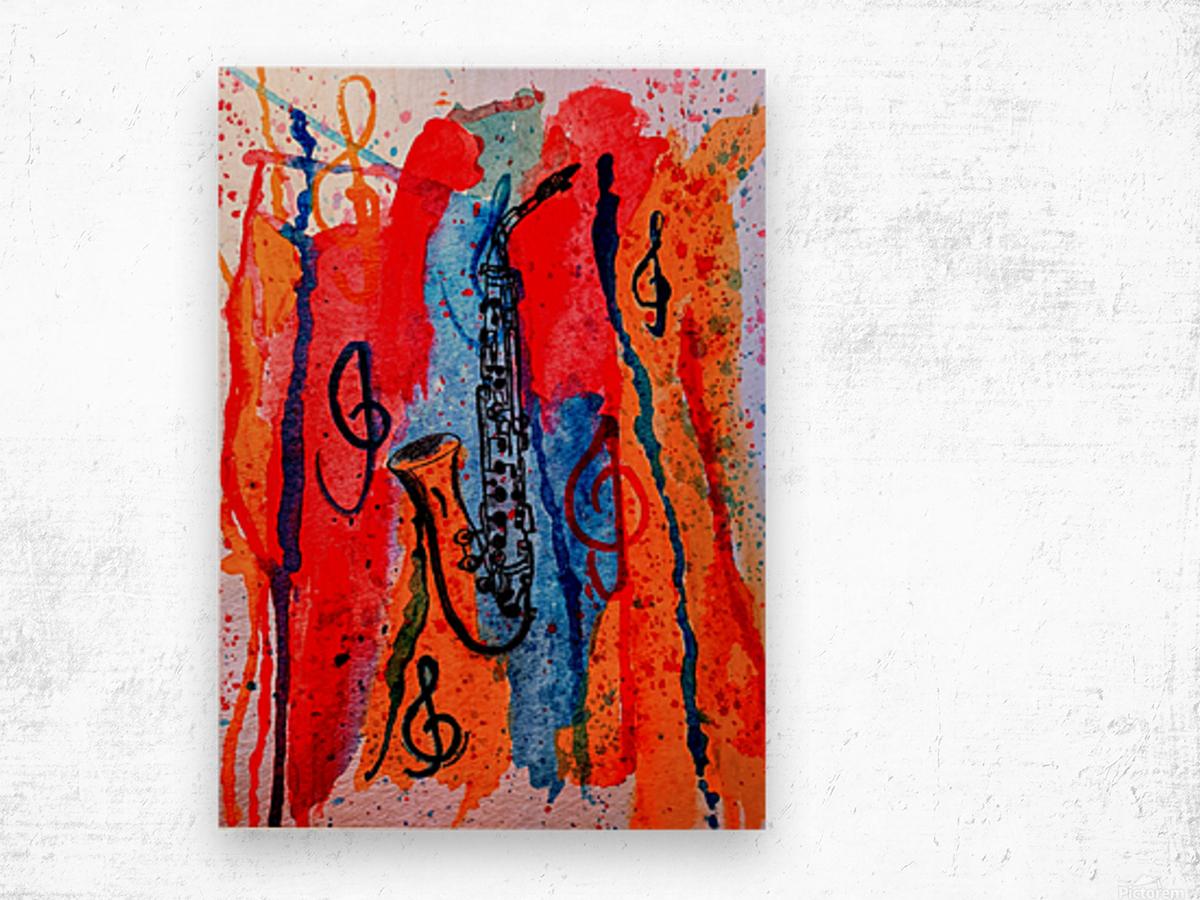Saxophone Watercolor Wood print