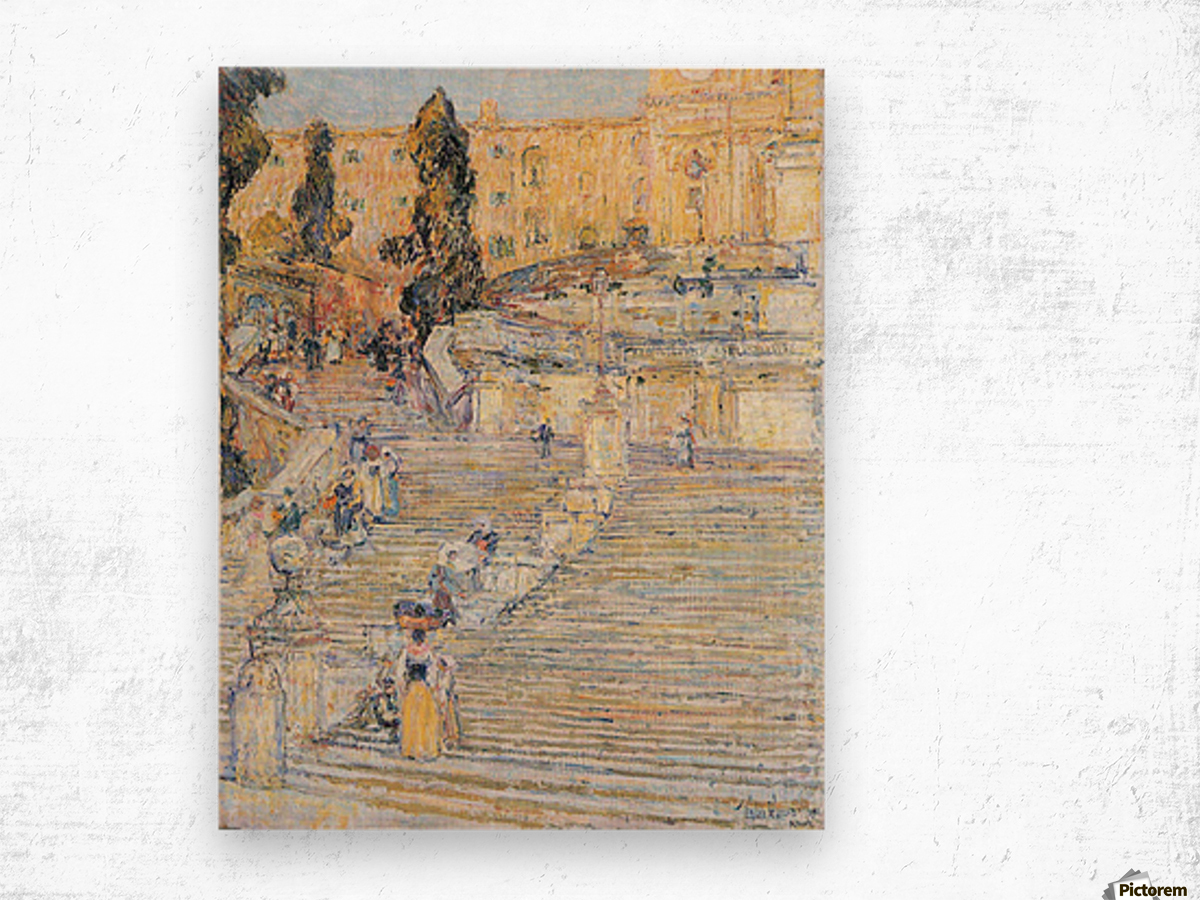 The Spanish steps by Hassam Wood print