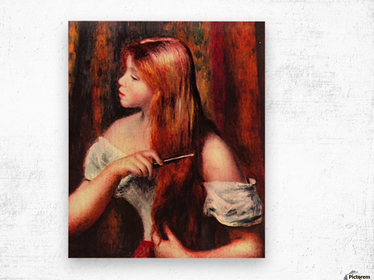 Combing girl Wood print