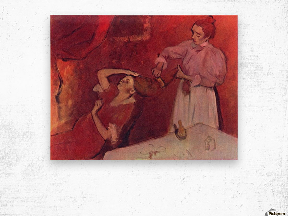 Combing hair by Degas Wood print