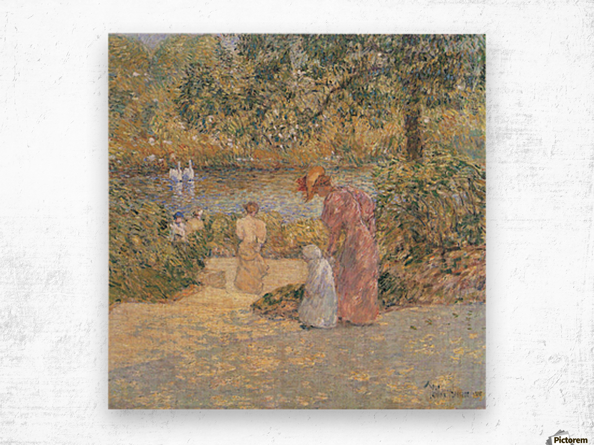 The staircase at Central Park by Hassam Wood print
