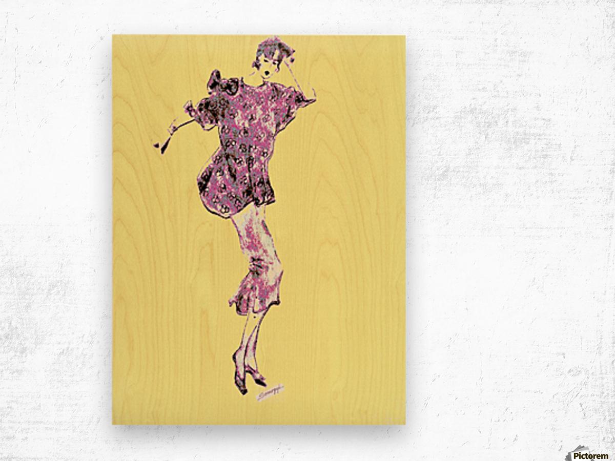 1980's Fashion on Yellow Wood print