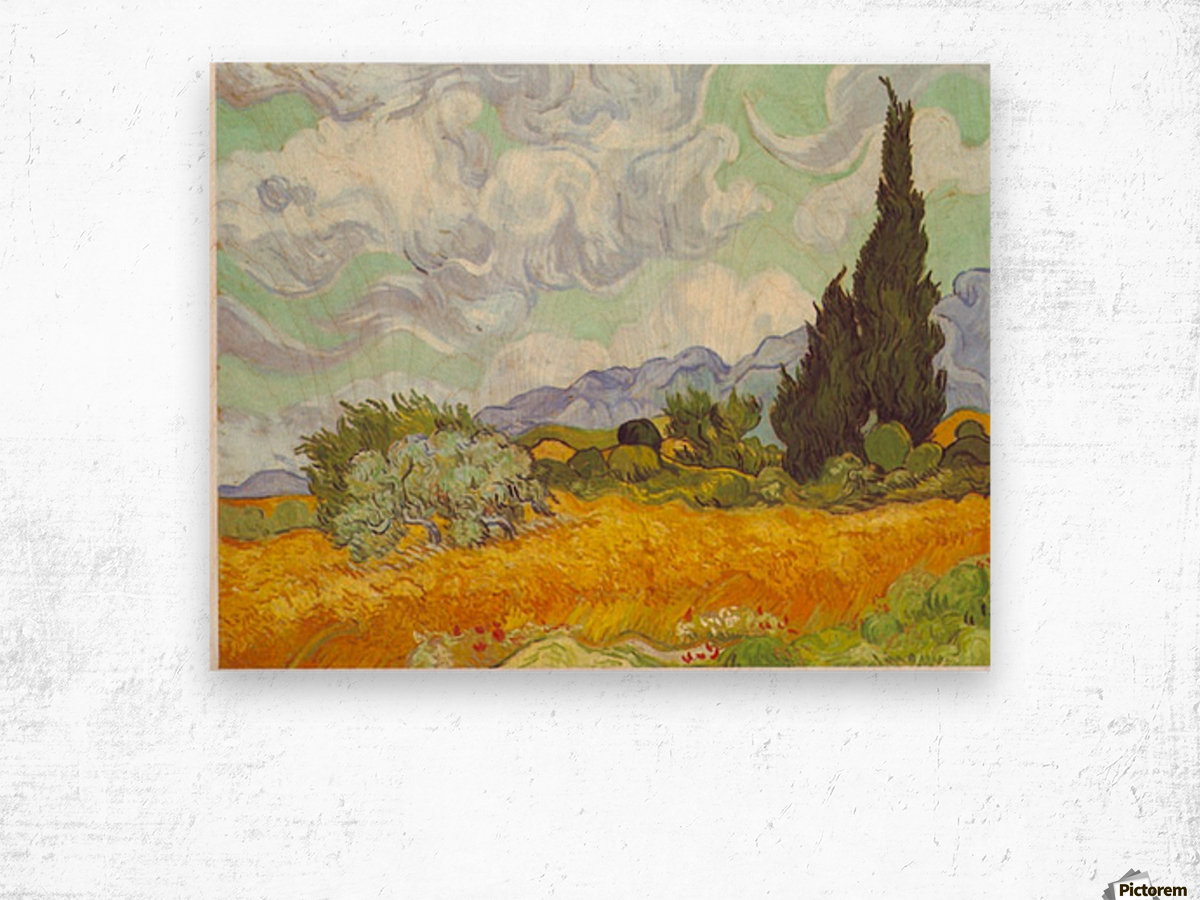 Cornfield with Cyprusses by Van Gogh Wood print